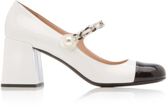 Miu Miu Patent Leather Cap-Toe Mary Jane Pumps