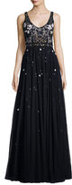 Jenny Packham Embroidered Scoop-Neck Tulle Gown, Navy
