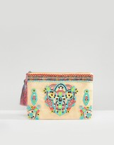 Glamorous Neon Embroidered Zip Top Pouch