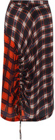 Preen Line Vivian Gathered Checked Crepe De Chine Skirt - medium