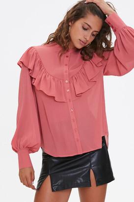 Forever 21 Ruffle Peasant-Sleeve Shirt