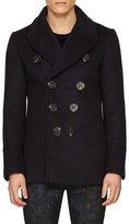 Burberry Neoprene Bonded Wool-Cashmere Pea Coat, Navy