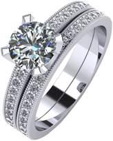 Moissanite Platinum 1.4 Carat Two Piece Bridal Set