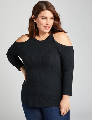 Lane Bryant Ribbed Cold-Shoulder Top