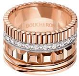 Boucheron Quatre 18K Pink Gold Ring with Diamonds, Size 54