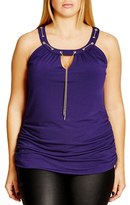 City Chic 'Chain Up' Keyhole Top (Plus Size)