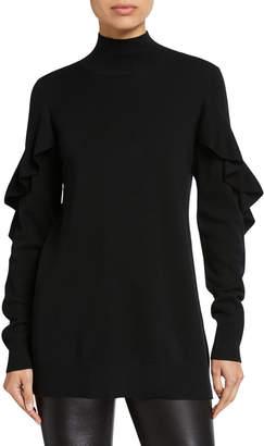 Elie Tahari Kacey Mock-Neck Ruffle-Trim Wool Sweater