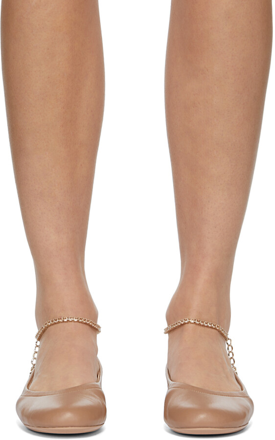 Thumbnail for your product : Gianvito Rossi Brown Ankle Chain Ballerina Flats