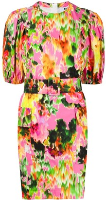 MSGM Abstract Floral-Print Belted Mini Dress