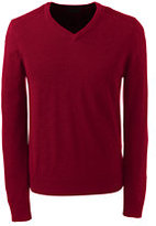 Lands' End Men's Tall Merino Wool V-Neck Sweater-Burgundy