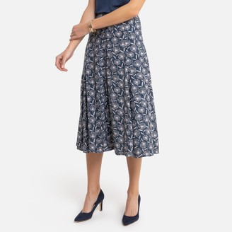 Anne Weyburn Full Mid-Length Skirt in Floral Print