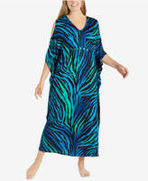 Ellen Tracy Plus Size Printed Cold-Shoulder Caftan