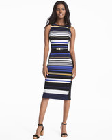 White House Black Market Sleeveless Striped Sheath Dress