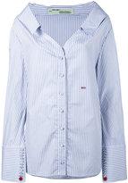 Off-White Open Collar Striped Shirt - women - Cotton - M
