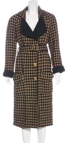 Chanel Houndstooth Long Coat