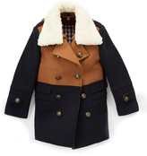 Isaac Mizrahi Tan & Navy Double-Breasted Wool-Blend Peacoat - Toddler & Boys