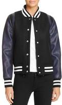 Aqua Faux Leather Varsity Jacket