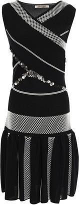 Roberto Cavalli Crossover Sequin-embellished Jacquard-knit Dress