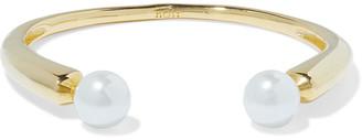 Noir Sphere 14-karat Gold-plated Faux Pearl Cuff