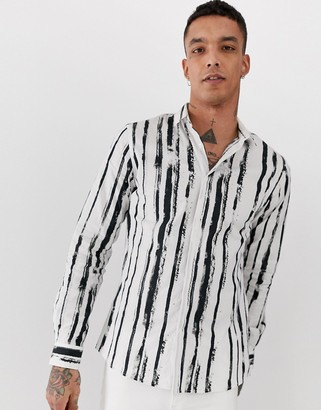 Twisted Tailor long sleeve shirt with painted stripe-White