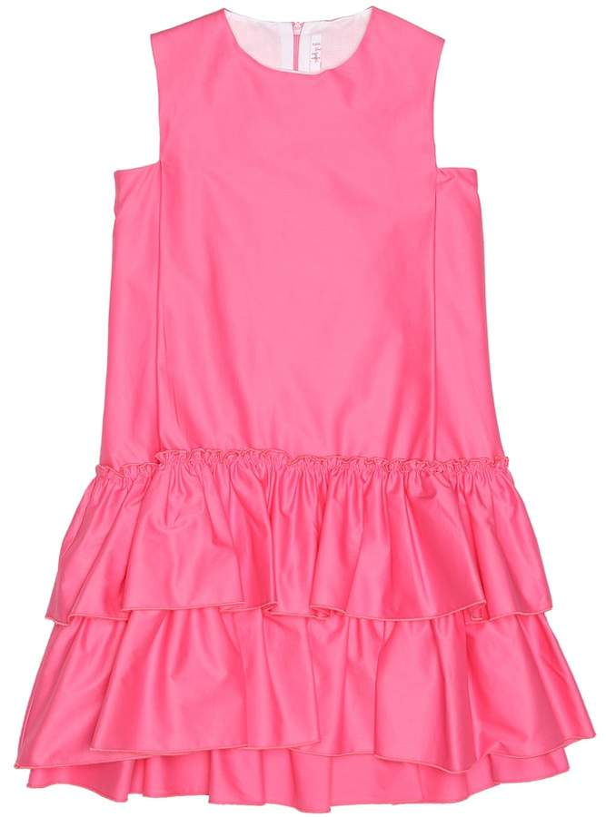 Il Gufo Ruffled twill dress