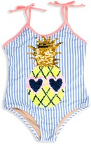 Shade Critters Little Girl's Reversible Sequin Pineapple One-Piece Swimsuit