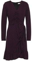 MICHAEL Michael Kors Wrap-effect Printed Stretch-jersey Mini Dress