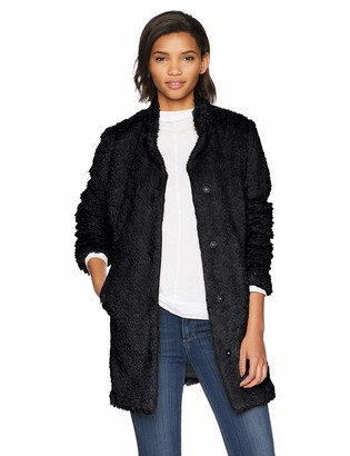 Kenneth Cole New York Women's mid Length snap Faux Fur Coat with Texture