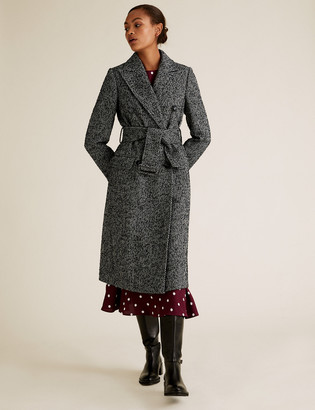 Marks and Spencer Herringbone Belted Longline Coat