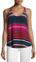 Joie Drew C Striped Silk Tank Top, Blue/Red/Pink