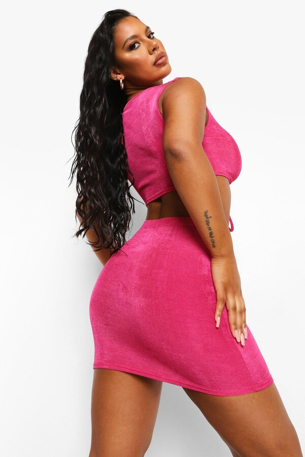 Thumbnail for your product : boohoo Ruched Crop & Mini Skirt