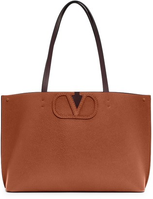 Valentino Garavani Large V-Logo Leather Tote