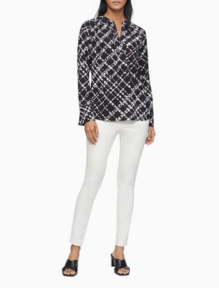 Calvin Klein Printed Button Down Roll-Sleeve Tunic