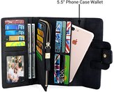"""UTO Women PU Leather Wallet 5.5"""" Phone Case Card Holder Organizer Zipper Coin Purse with Snap Closure 1"""