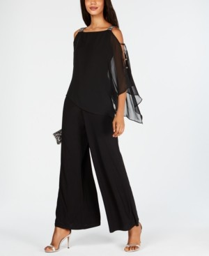 MSK Petite Cold-Shoulder Rhinestone Jumpsuit