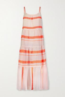 Lemlem Jemari Tiered Striped Cotton-blend Gauze Midi Dress - Peach