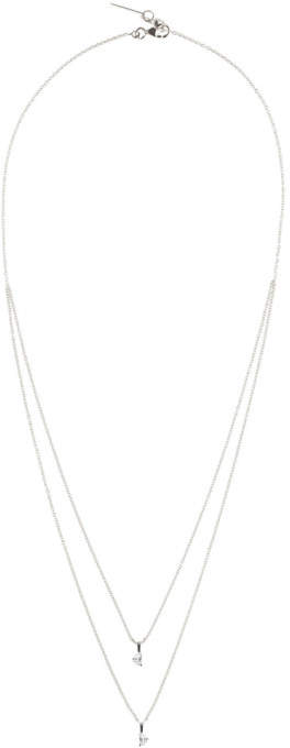 Maison Margiela Jewellery White Gold Crescent Diamond Solitaire Bisected Necklace