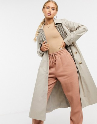 Helene Berman trench coat with check inner in beige