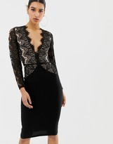 Rare London limited edition long sleeve eyelash lace midi dress