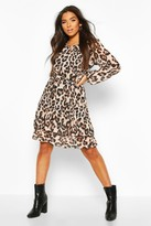 boohoo Leopard Print Belted Ruffle Skater Dress