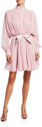 Giambattista Valli Fit-&-Flare Belted Silk Dress