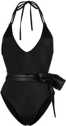 Solid & Striped Lou v-neck belted swimsuit