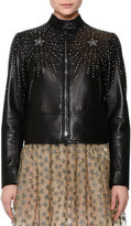Valentino Star-Studded Leather Jacket, Black