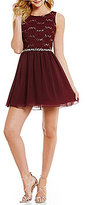 Xtraordinary Sequin Lace Bodice Skater Dress