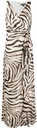 Lauren Ralph Lauren V-Neck Zebra Print Dress