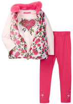 Betsey Johnson Floral Puffy Vest, Tee, & Legging Set (Little Girls)