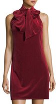 Laundry by Shelli Segal Tie-Neck Velvet Shift Dress