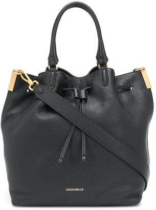 Coccinelle Drawstring Leather Tote Bag