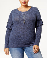 Planet Gold Trendy Plus Size Ruffled Sweater