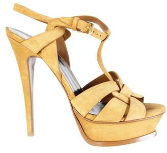 Saint Laurent Khaki Suede Platform Sandals Size 39.5